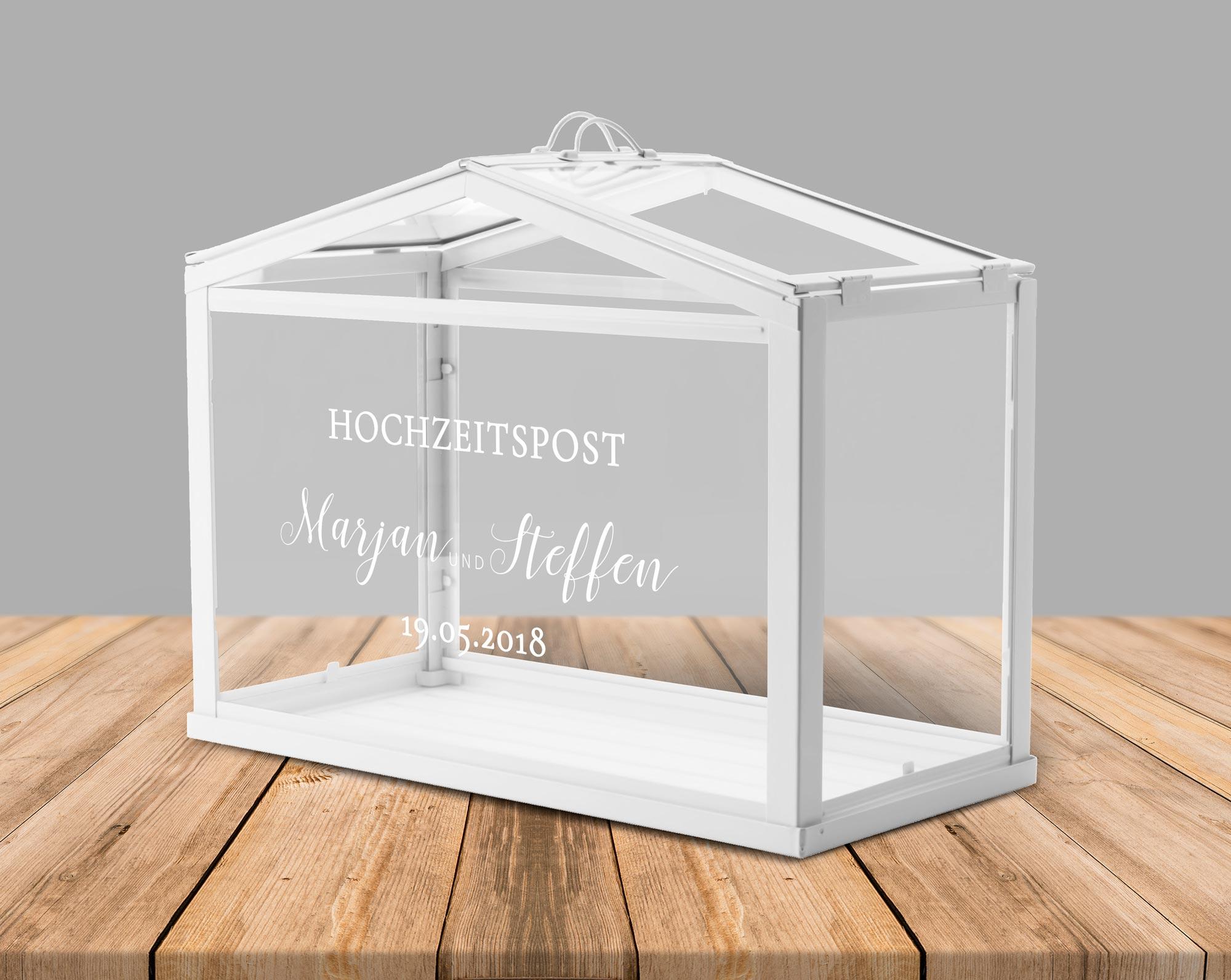 Kartenbox Hochzeit Glas.Aufkleber Fur Hochzeitspost Box Gewachshaus Fur Geldgeschenke Und Karten Zur Hochzeit Personalisiert